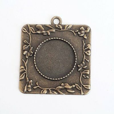 2pcs Square Pendant Tray Blanks Antique Bronze Fit 20mm Bezel Setting B41163