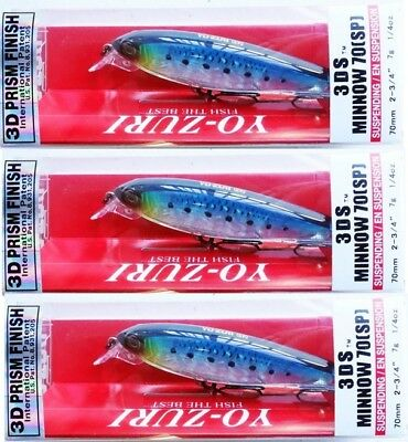 "yo zuri 3ds minnow 70sp suspending 2 3//4/"" 1//4oz f1135-hiw sardine"