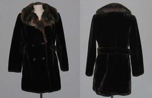Vtg Vi style Mørkebrun Faux Hvy Kravecoat Plush M S Tiger Stripe WMS Fur rqarP7Ox6w
