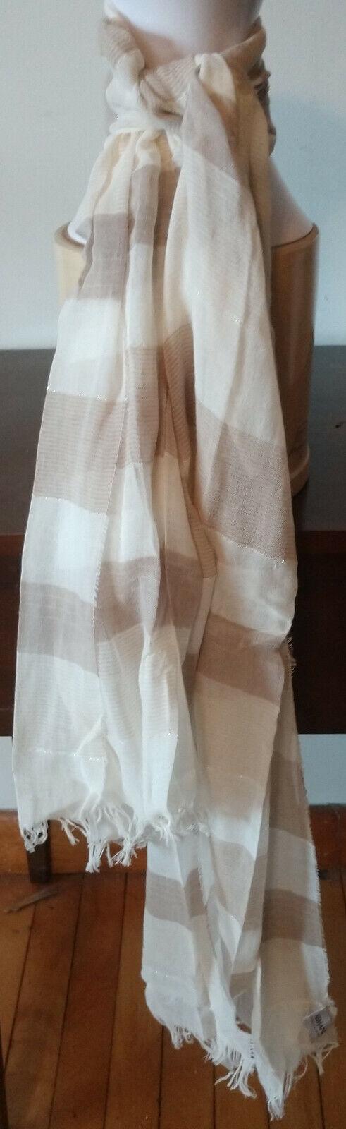 ARMANI COLLEZIONI-Beige/Cream/Shiny Silver striped scarf - w/fringe 30