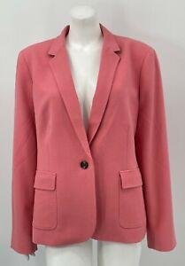 Talbots Women Blazer Jacket 16 Pink Stretch Lined 1Button Front Long Sleeve Work