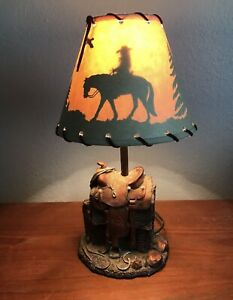 """16"""" Western Cowboy Saddle Lamp Home Decor Table Top Lamp with Shade"""