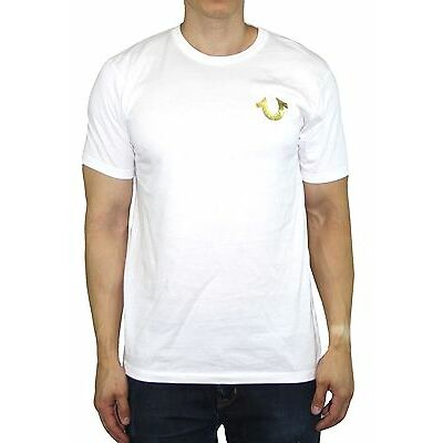 Men's True Religion T-Shirts Gold Shoestring Horseshoe logo Vintage White Tee