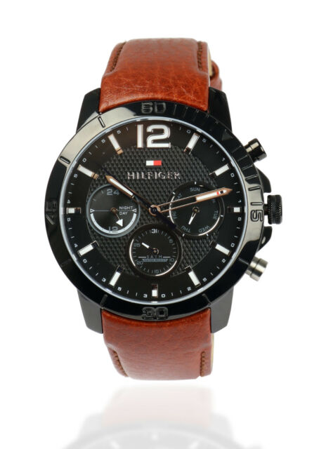 TOMMY HILFIGER Herren Armbanduhr Uhr Edelstahl Schwarz Leder Braun 1791269
