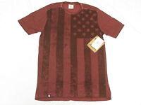 $34 Mens Akademiks T-shirt Ross Flag Print Tee Burgundy Urban Sz S N220