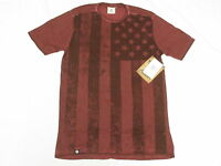 $34 Mens Akademiks T-shirt Ross Flag Print Tee Burgundy Urban Sz M N220