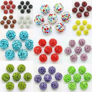 High Spacer Bead  10mm Czech Crystal Rhinestones Pave Clay Round Disco Ball