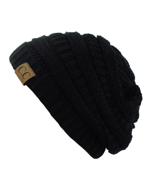299d559969b Trendy Warm Chunky Soft Stretch Cable Knit Slouchy Beanie Skully ...