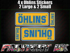 4x Ohlins Yellow & Blue Decals Stickers Suspension Bike Shock, motorcycle STUNT