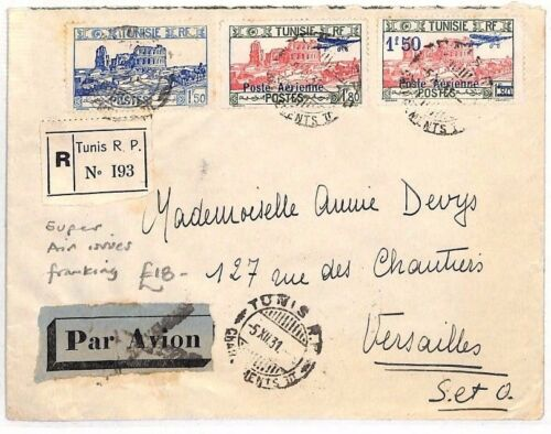 BF133 1931 Tunisia Air Mail Versailles France Cover {samwellscovers}