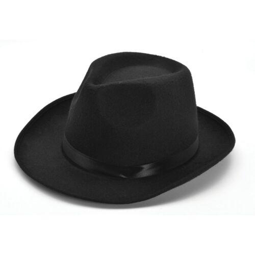 Nero Lana Feltro Gangster Cappello-Costume Accessorio 1920 S BORSALINO Adulto Uomo