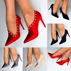 Ladies-Pointed-Toe-High-Heel-Shoe-Ankle-Boots-Slip-on-Smart-Office-Heels-Size