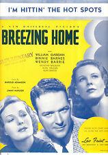 "BREEZING HOME SheetMusic ""I'm Hittin' The Hot Spots"" William Gargan Wendy Barrie"