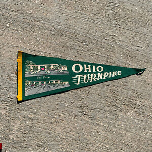 Vintage-Ohio-Turnpike-Toll-Plazas-Green-Banner-Pennant-24-No-Tassel