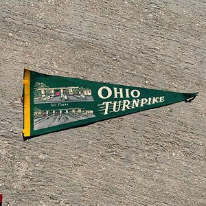 Vintage-Ohio-Turnpike-Toll-Plazas-Green-Banner-Pennant-24-No-Tassel
