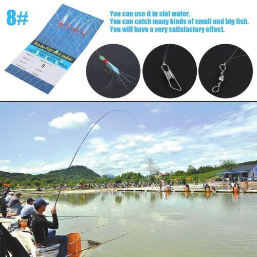 NEW Fishing Piscatore 6Hooks Sabiki Baits Rigs Size #8 12 Mackerel Lures LOT HP