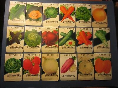 Lone Star EMPTY Lot of 18 Old Vintage 1940/'s VEGETABLE SEED PACKETS TEXAS