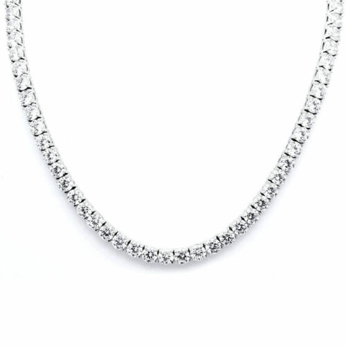 """30/"""" Created Diamond Tennis Necklace 45.00tcw Round 925 Solid Sterling Silver 4mm"""