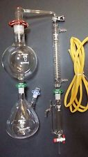 Essential oil steam distillation kit,Graham Condenser, Glassware Clamps,New USA