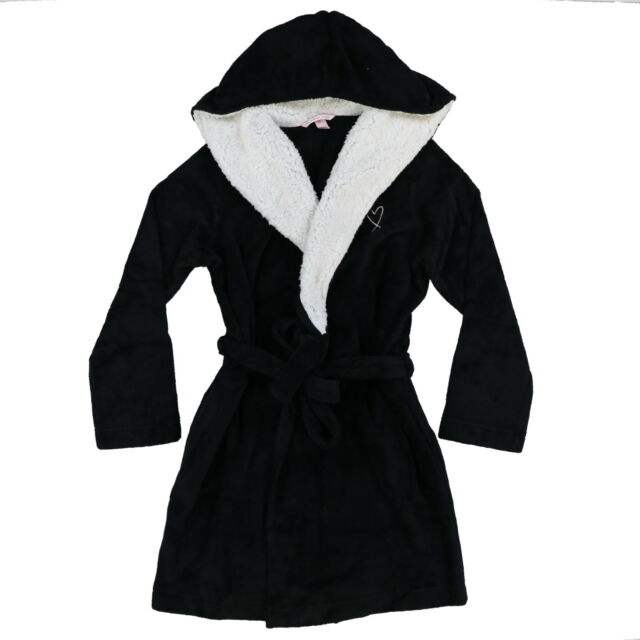 75386369d5 Victoria s Secret Cozy Hooded Plush Fleece With Sherpa Black Short Robe M l