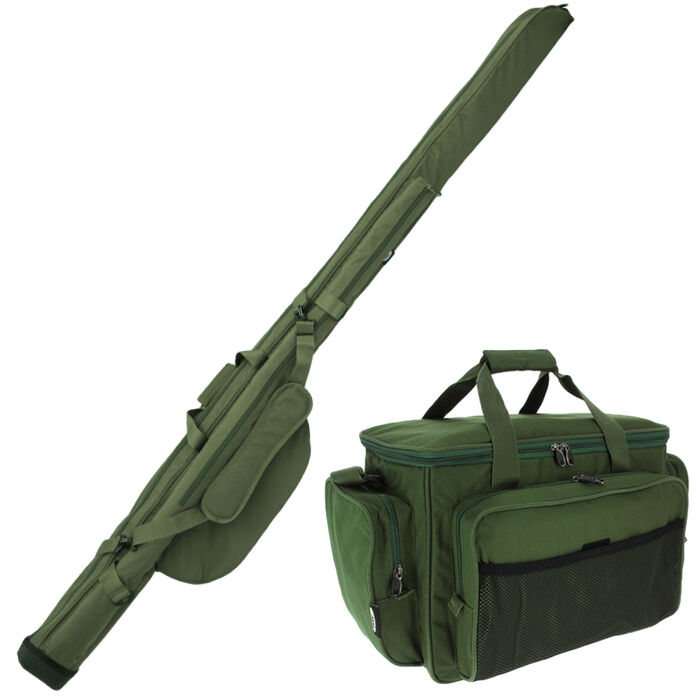 Carp Fishing Carryall Bag & Twin Double Padded Rod & Reel Holdall Bag NGT