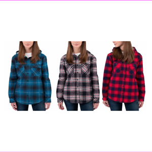 9080d0642e0d Image is loading Boston-Traders-Ladies-039-Sherpa-Lined-Hooded-Flannel-