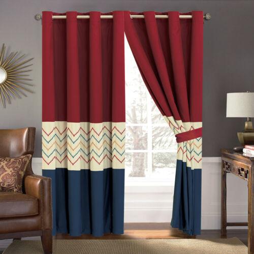 4-P Tommi Chevron ZigZag Herringbone Embroidery Curtain Set Blue Red Beige Liner
