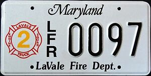 MARYLAND-034-LAVALE-FIRE-DEPARTMENT-FIREFIGHTER-034-RARE-MD-Specialty-License-Plate