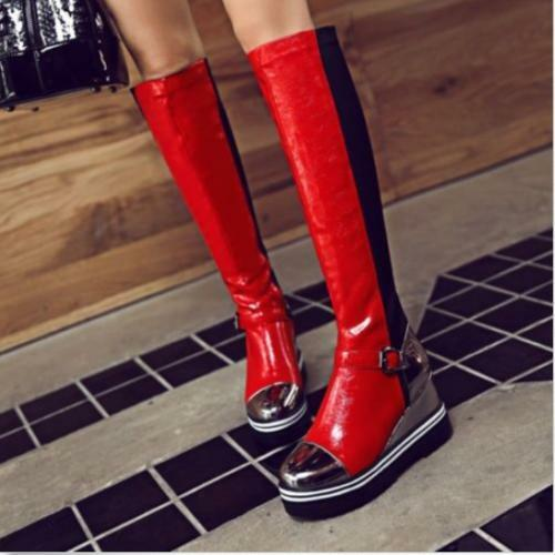 Womens Wedge High Heels Platform Buckle Mix color Knee High Boots Pull On shoes