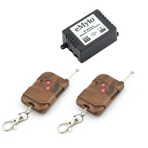 DC 24V 1CH Relay Wireless Remote Control RF Antenna Switch Toggle 2 Transmitter