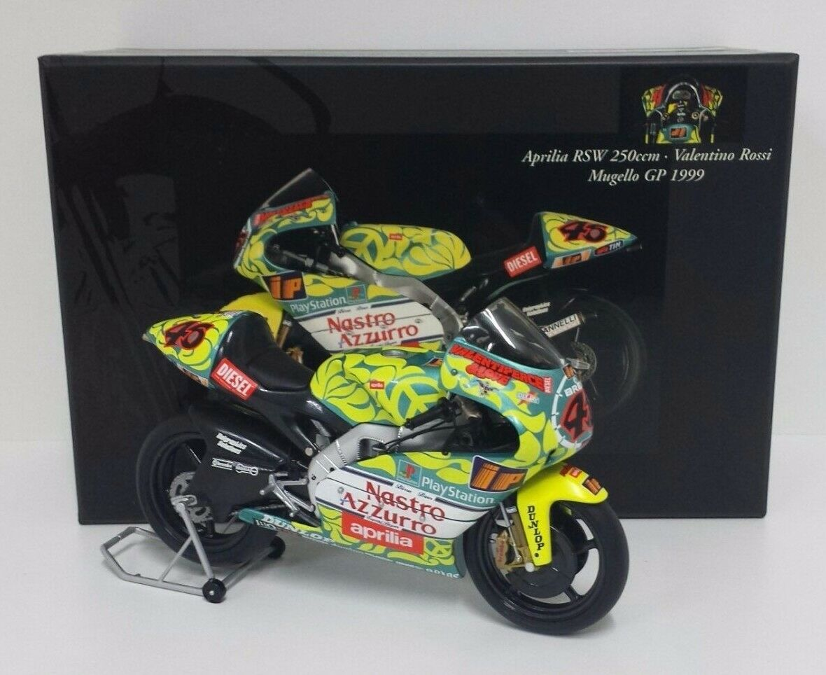 MINICHAMPS VALENTINO ROSSI 1 12 MOTO APRILIA RSW 250cc GP MUGELLO 1999 RARE NEW