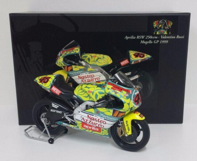 MINICHAMPS VALENTINO ROSSI 1/12 MOTO APRILIA RSW 250cc GP MUGELLO 1999 RARE NEW