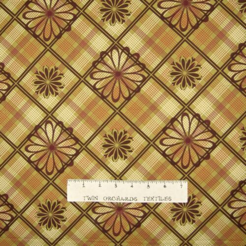 VIP Cranston YARD Flowers on Mustard Plaid Rustic Country Fabric