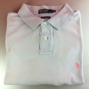 Ralph-Lauren-Extra-Large-XL-GRIS-solide-a-manches-courtes-Polo-Shirt-Pony-Authentique