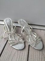 Women's silver rhinestoned Michaelangelo shoes size 7M