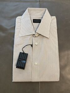 27b15dcf NWT Ermenegildo Zegna Milano Mens White Beige Stripe Dress Shirt 39 ...