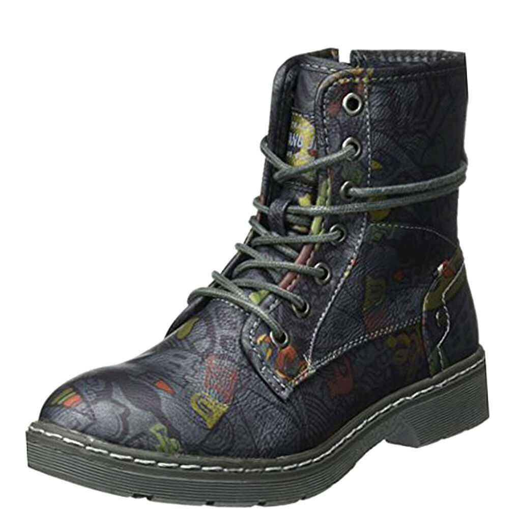 Mustang NEW 1235 610 navy pattern lace up military combat ankle boots sizes 3-8