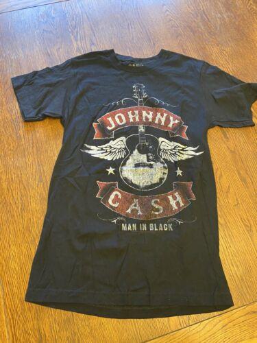 Johnny Cash Man In Black Graphic Shirt Sz S
