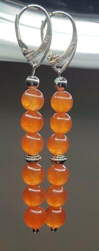 925 Orange Agate lever back Earrings Handmade