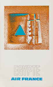 Original Vintage Poster-Raymond PAGES-Air France-egypte-Avion - 1971