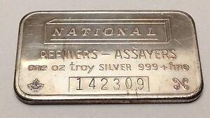 National-Refiners-Mint-One-1-Ounce-Troy-Oz-999-Silver-Bar-Canada-B223