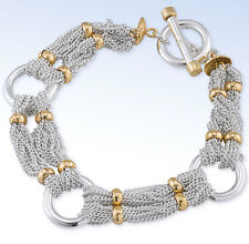 RALPH LAUREN Two-Tone Multi Fine Chain & Ring Toggle Bracelet