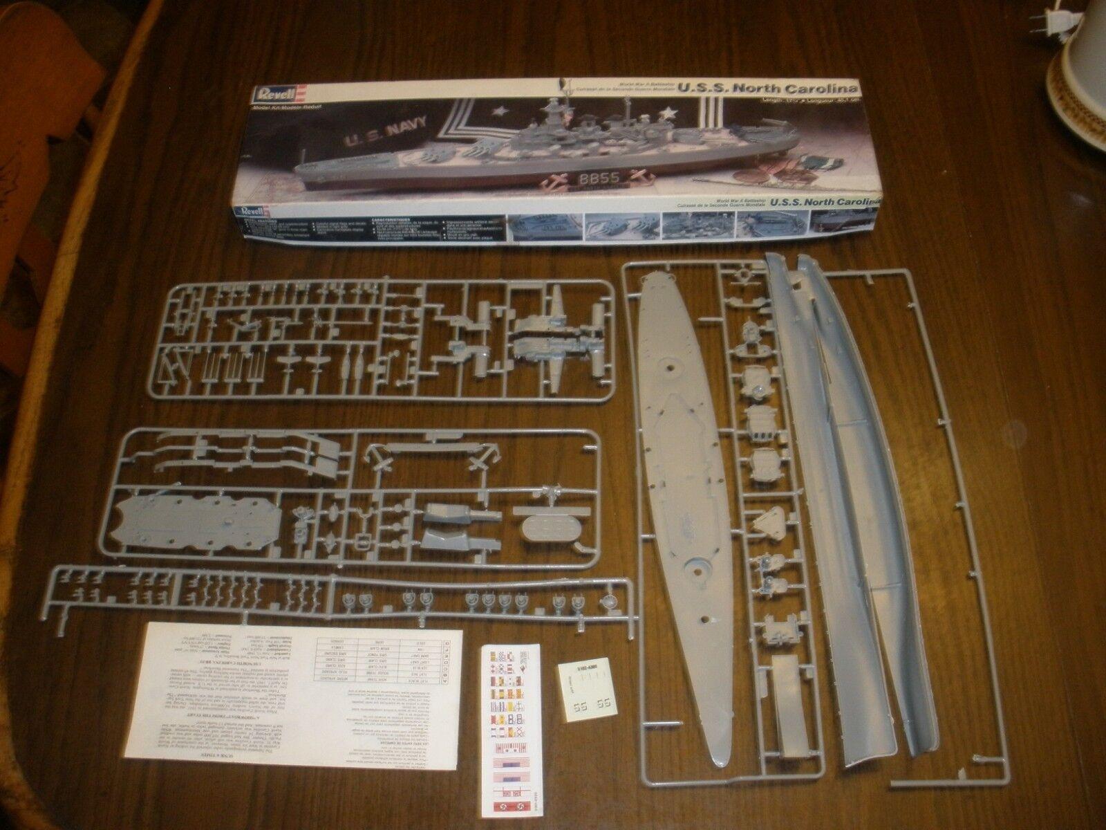 VINTAGE 1988 Revell U.S.S. North Carolina WWII Battleship  5102 Model Kit