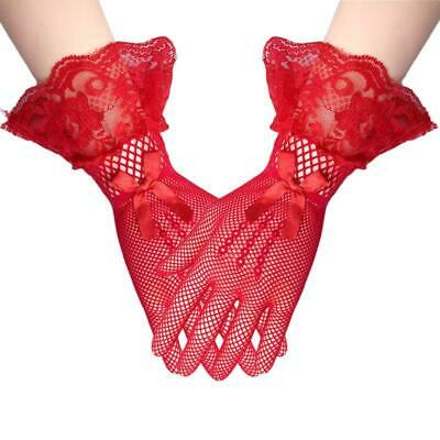 NEW Women/'s Lace Short Gloves Party Wedding Gloves Black//White//Red