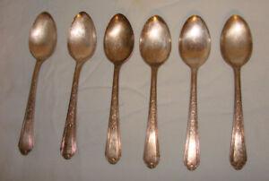 6-Vintage-Plymouth-Silverplate-Teaspoons-Jewel-Pattern