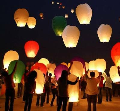 50 Paper Chinese Lanterns Sky Fly Candle Lamp for Wish Party Wedding US seller