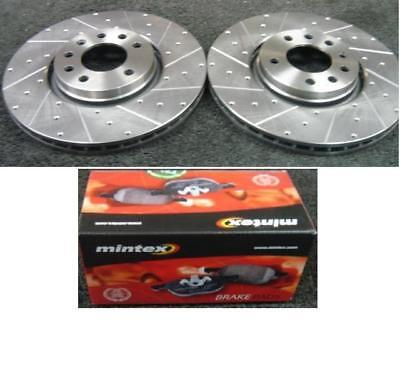 Drilled /& Grooved Front Brake Discs VOLVO S60 2.4 305mm Disc 00