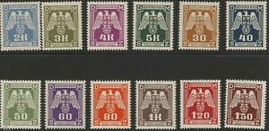 Stamp-Germany-Bohemia-Czech-Official-Mi-13-24-1940-WWII-War-Era-MNH