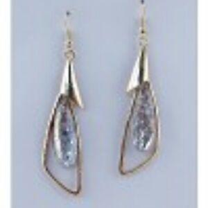 New-Silver-Tone-Tear-Drop-Faux-Stone-Earrings