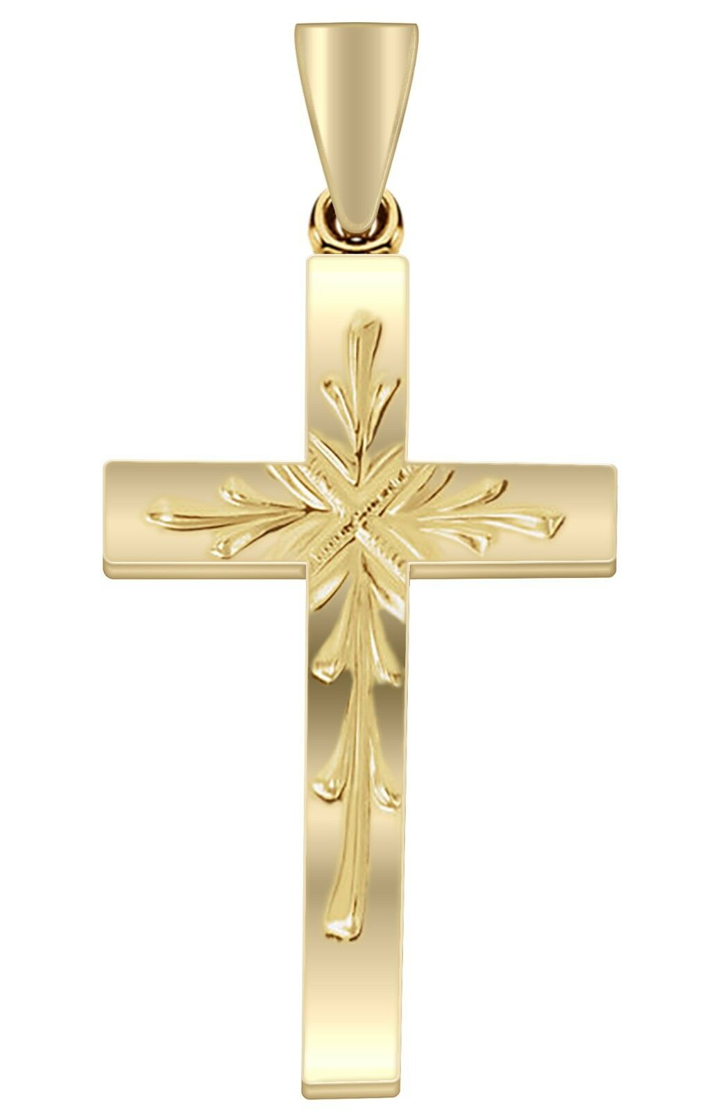 New 1in 14k Yellow gold Christian Religious Cross Pendant Polished Finish